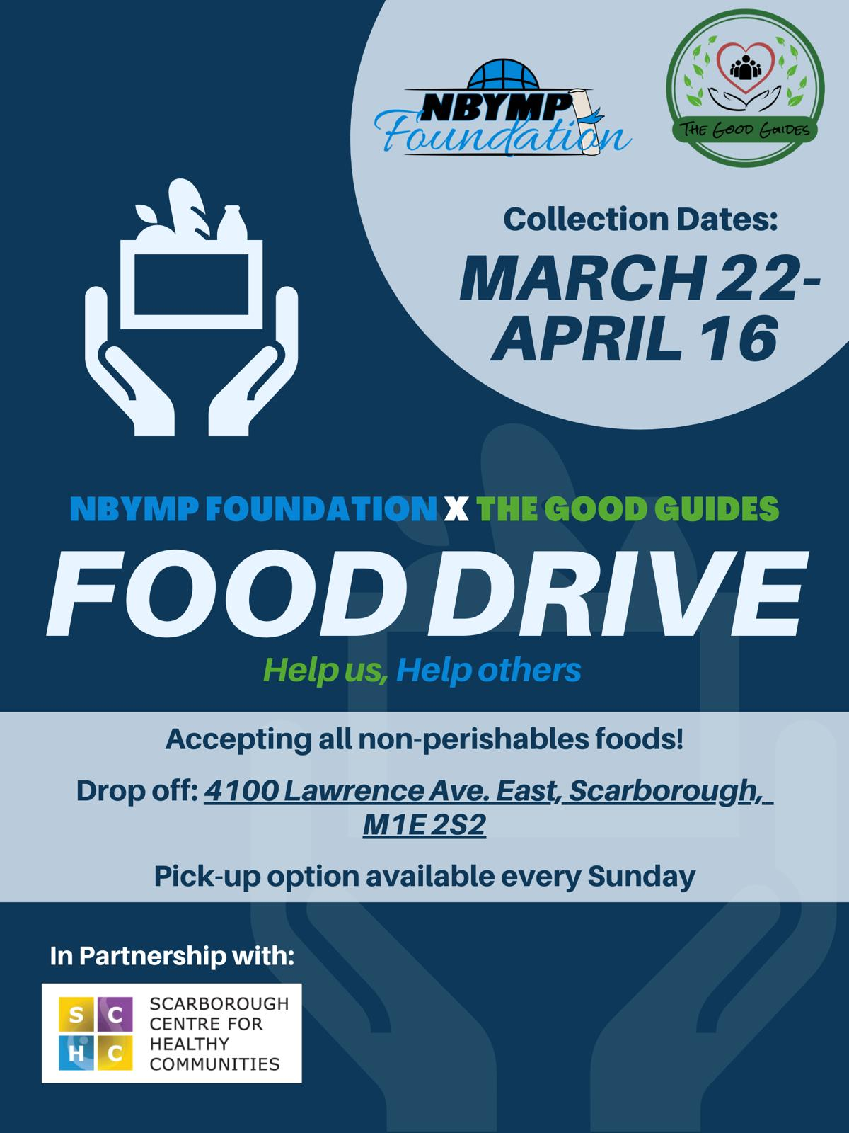 An infographic introducing the NBYMP Foundation Food Drive